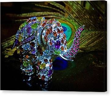 Lucky Jeweled Elephant Canvas Print by Susan Maxwell Schmidt