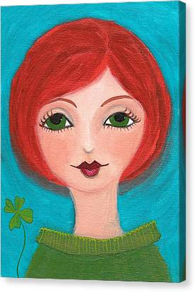 Canvas Print featuring the painting Lucky by Lisa Noneman