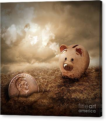 Lucky Piggy Bank Finds Lost Penny In Dirt Canvas Print by Angela Waye