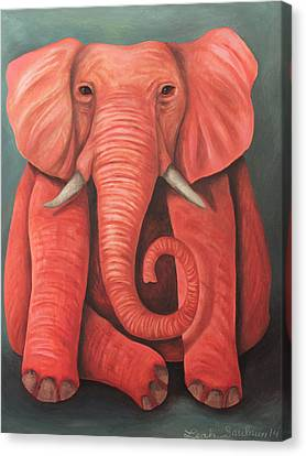 Lucky Pink Elephant Canvas Print by Leah Saulnier The Painting Maniac