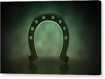 Good Fortune Canvas Print - Lucky Shamrock Horseshoe by Allan Swart
