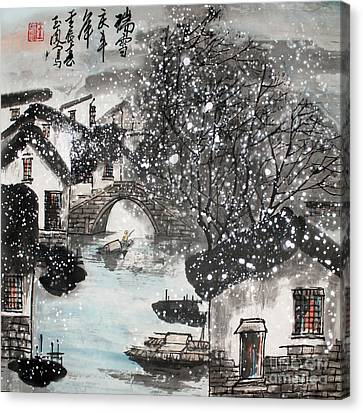 Canvas Print featuring the painting Lucky Snow  by Yufeng Wang