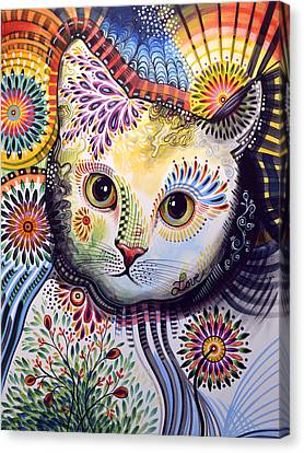 Lucy ... Abstract Cat Art Canvas Print by Amy Giacomelli