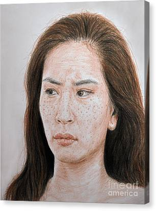 Lucy Liu The Stare Canvas Print