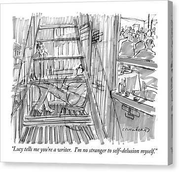 Fire Escape Canvas Print - Lucy Tells Me You're A Writer.  I'm No Stranger by Michael Crawford