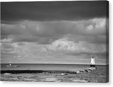 Ludington Black And White Canvas Print by Sebastian Musial