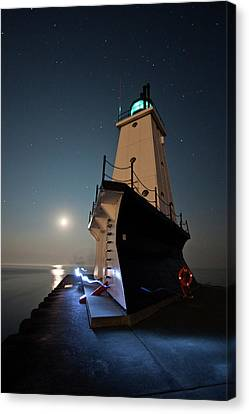 Ludington North Breakwater Lighthouse Canvas Print by Adam Romanowicz