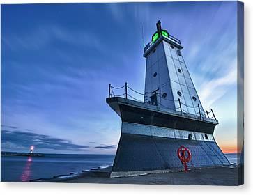 Ludington North Breakwater Lighthouse Canvas Print by Sebastian Musial