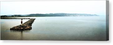 Ludington South Breakwater Canvas Print by Michelle Calkins