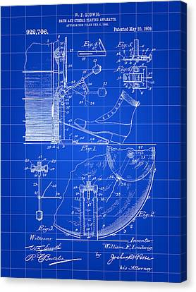 Ludwig Drum And Cymbal Foot Pedal Patent 1909 - Blue Canvas Print by Stephen Younts