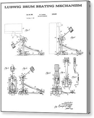 Ludwig Drum Pedal 2 Patent Art 1951 Canvas Print by Daniel Hagerman
