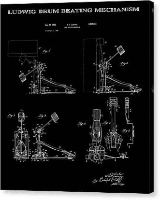 Ludwig Drum Pedal 4 Patent Art 1951 Canvas Print by Daniel Hagerman