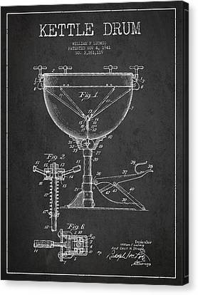 Drummer Canvas Print - Ludwig Kettle Drum Drum Patent Drawing From 1941 - Dark by Aged Pixel