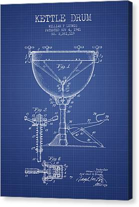 Ludwig Kettle Drum Drum Patent From 1941 - Blueprint Canvas Print by Aged Pixel