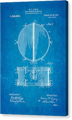 Ludwig Snare Drum Patent Art 1912 Blueprint Canvas Print by Ian Monk
