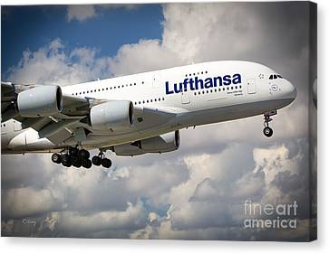 Lufthansa A380-800 Hamburg  Canvas Print by Rene Triay Photography