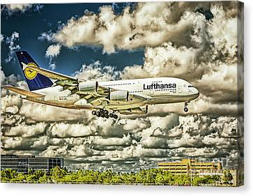 Lost In The Clouds Lufthansa A380 Named Hamburg-colorized Abstract Canvas Print