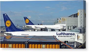 Lufthansa Birds At Frankfurt Airport Canvas Print by Ausra Huntington nee Paulauskaite