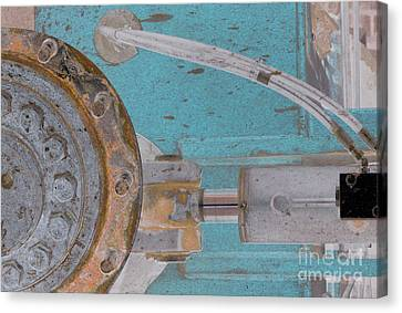 Lug Nut Wheel Left Turquoise And Copper Canvas Print by Heather Kirk