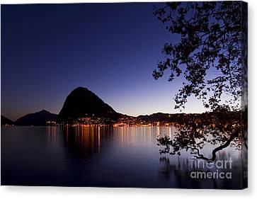Lugano By Night Canvas Print by Maurizio Bacciarini