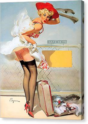 Luggage Accident Pin-up Girl Canvas Print