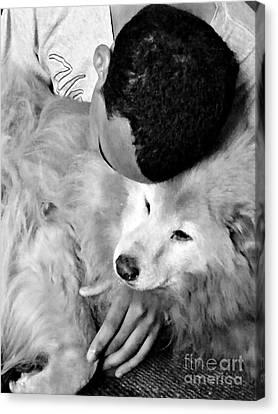 Luke And Little Bear Canvas Print by Sarah Loft