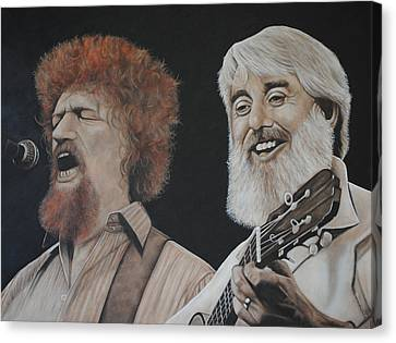 Canvas Print featuring the painting Luke Kelly And Ronnie Drew by David Dunne