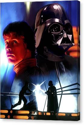 Luke Skywalker Vs Darth Vader Canvas Print by Paul Tagliamonte