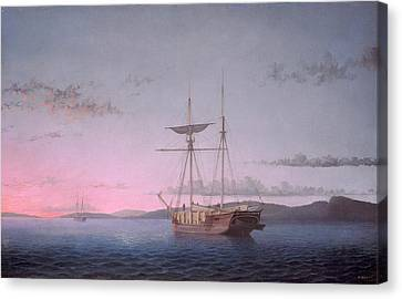 Lumber Schooners At Evening On Penobscot Bay Canvas Print by Fitz Henry Lane