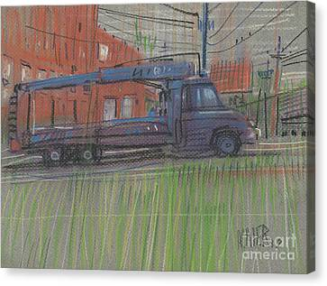 Canvas Print featuring the painting Lumber Truck by Donald Maier