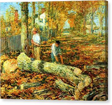 Lumbering 1903 Canvas Print by Frederick Childe Hassam