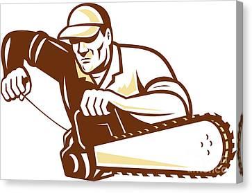 Lumberjack Tree Surgeon Arborist Chainsaw Canvas Print by Aloysius Patrimonio