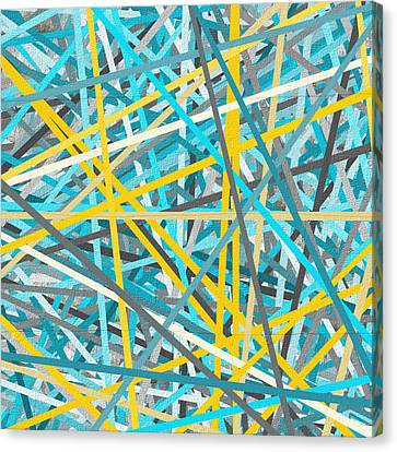 Airy Canvas Print - Luminous Attachment - Yellow And Turquoise Abstract by Lourry Legarde