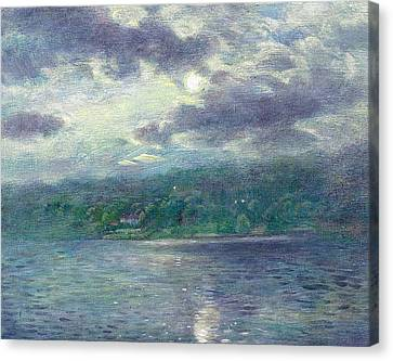 Canvas Print featuring the painting Luminous Moon Over Lake by Judith Cheng