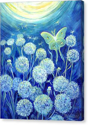 Luna Moth In Moonlight With Dandelions Canvas Print by Peggy Wilson