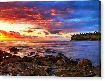Palos Verdes Cove Canvas Print - Lunada Bay Sunset by Tom Dupee