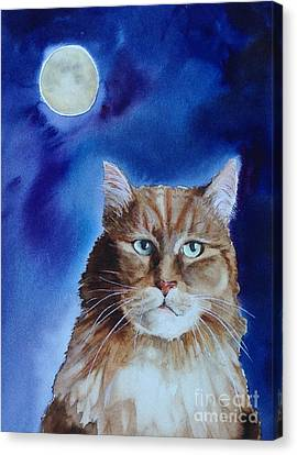 Lunar Cat Canvas Print by Kym Stine