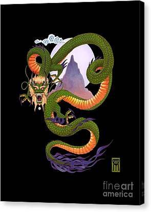 Realistic Canvas Print - Lunar Chinese Dragon On Black by Melissa A Benson