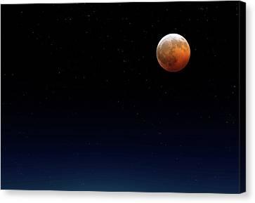 Moonlit Canvas Print - Lunar Eclipse by Detlev Van Ravenswaay