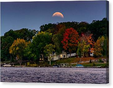 Lunar Eclipse Over Pewaukee Lake Canvas Print