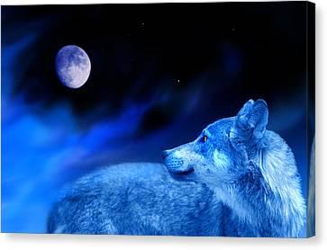 Lunar Wolf 2 Canvas Print by Mal Bray