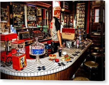 Lunch At The Diner Canvas Print by Kathy Jennings