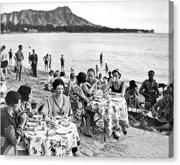 Wine Service Canvas Print - Lunch On Waikiki Beach by Underwood Archives