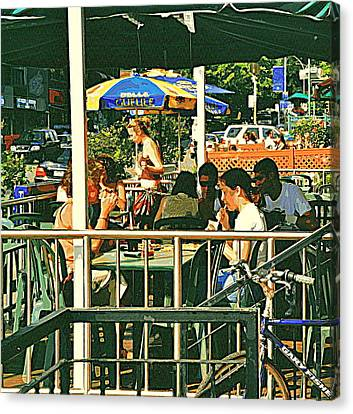 Lunch Party At The La Belle Gueule Brasserie Terrace - Park Your Bike And Enjoy The Sunny Day Canvas Print by Carole Spandau