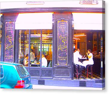 Lunch Time At The Cafe St Regis In Paris Canvas Print by Jan Matson