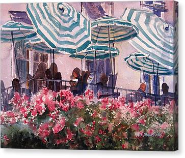 Lunch Under Umbrellas Canvas Print by Kris Parins