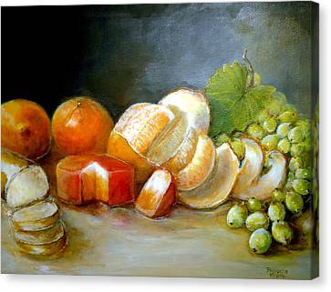Canvas Print featuring the painting Luncheon Delight - Still Life by Bernadette Krupa