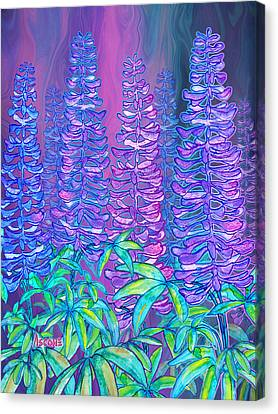 Canvas Print featuring the mixed media Lupines by Teresa Ascone
