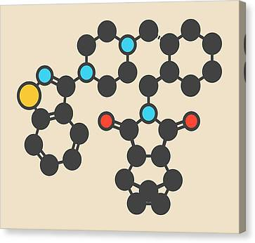 Bipolar Canvas Print - Lurasidone Antipsychotic Drug Molecule by Molekuul