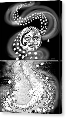 Canvas Print featuring the digital art Lure Of Moonlight by Carol Jacobs